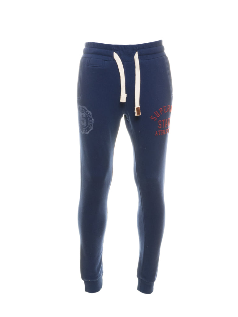 Core Applique Cuff Blue Joggers By Superdry