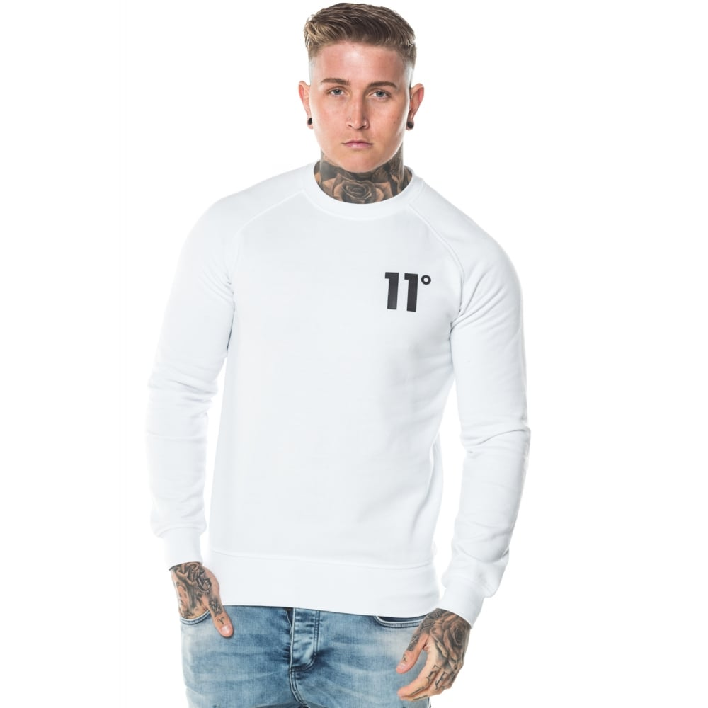 11 Degrees Core White Crew Sweatshirt. 11D-608
