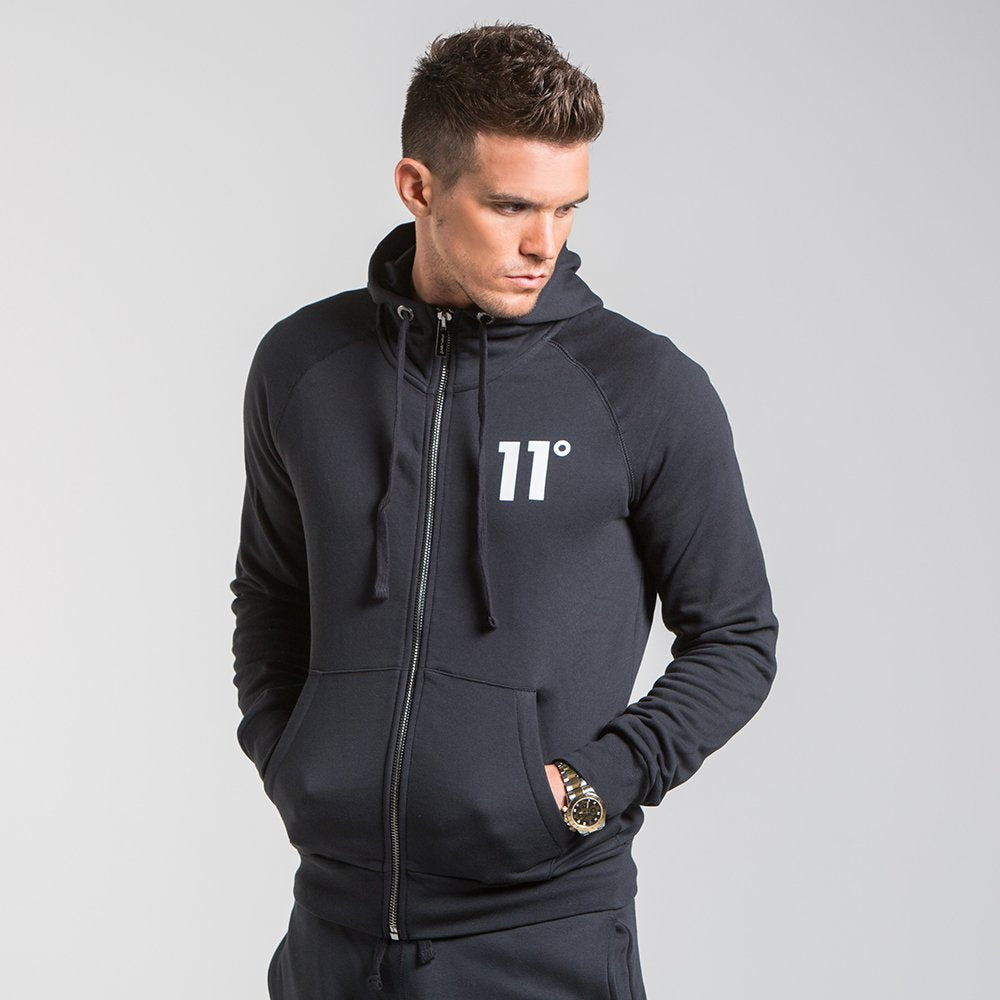 Core Zip Hoody Black By 11 Degrees