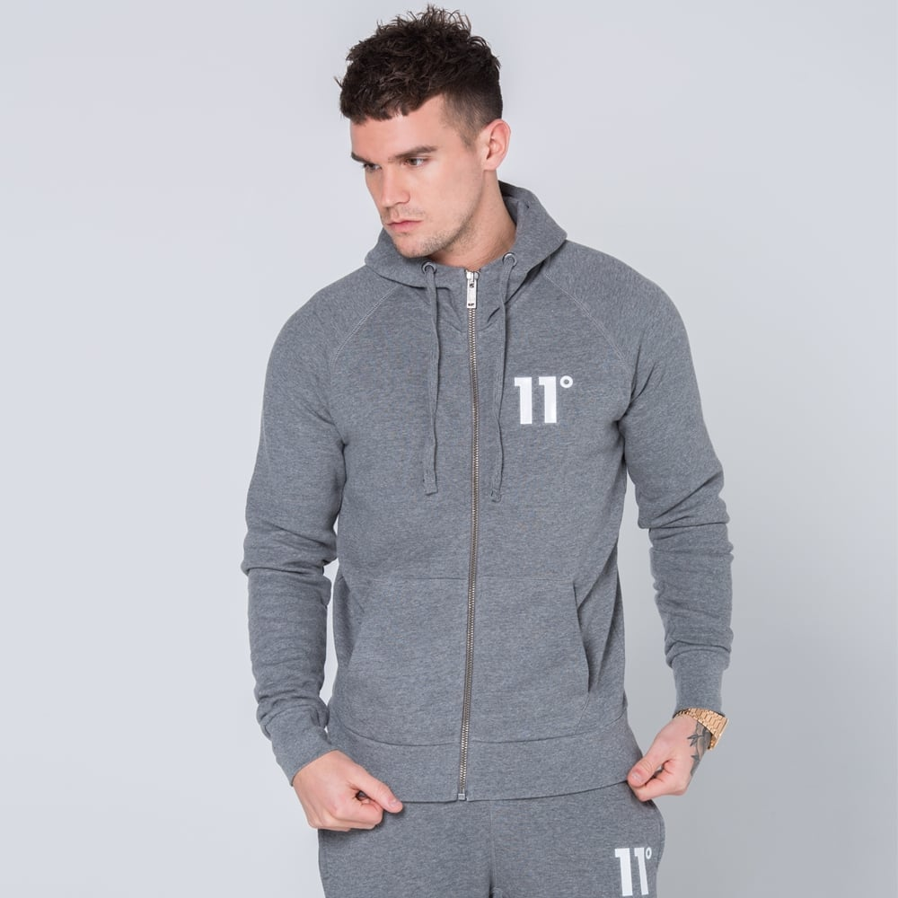 Core Charcoal Zip Up Hoodie By 11 Degrees