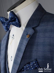 Costa 3 Piece Blue Check Suit by 6th Sense