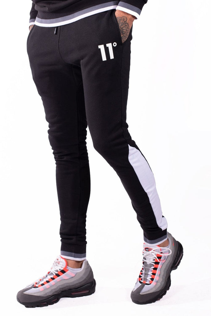 Ribbed Black & White Joggers Skinny Fit by 11 Degrees