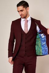 Danny Tapered Fit Wine 3 Piece Suit