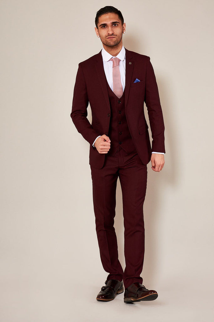 Tapered Fit Wine 3 Piece Suit