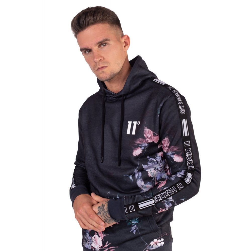 11 Degrees Dark Night Black Taped Hoodie