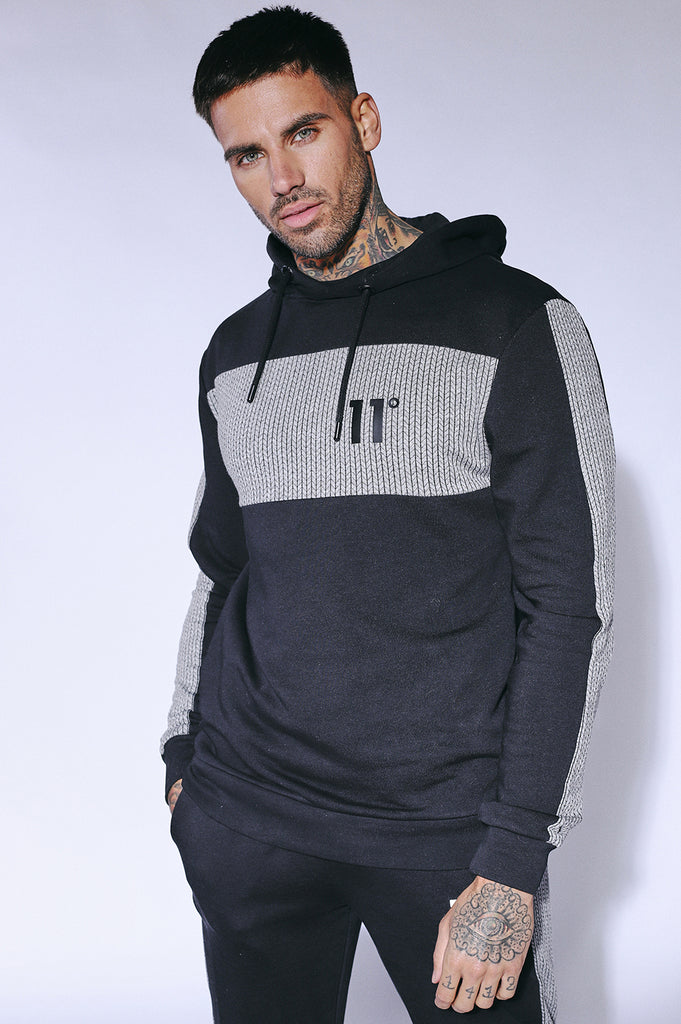 Cut And Sew Pullover Black Herringbone Over the Head Hoodie