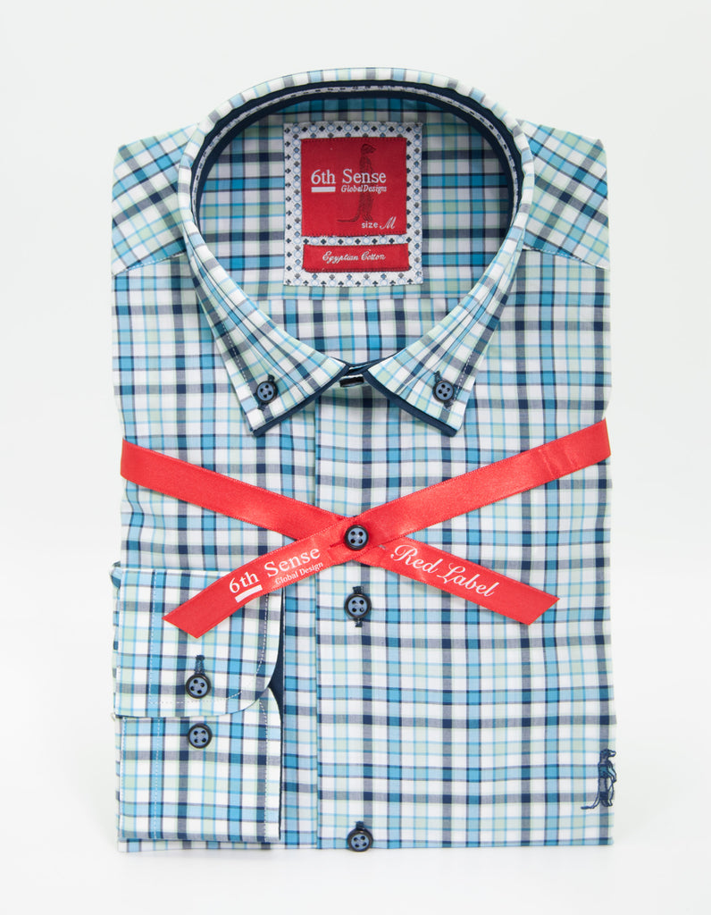 Blue Green Check Button Down Shirt 10A