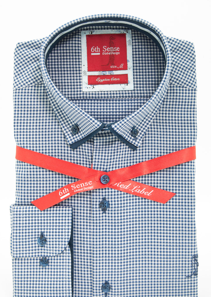 Navy Check Button Down Shirt 14A - zoom