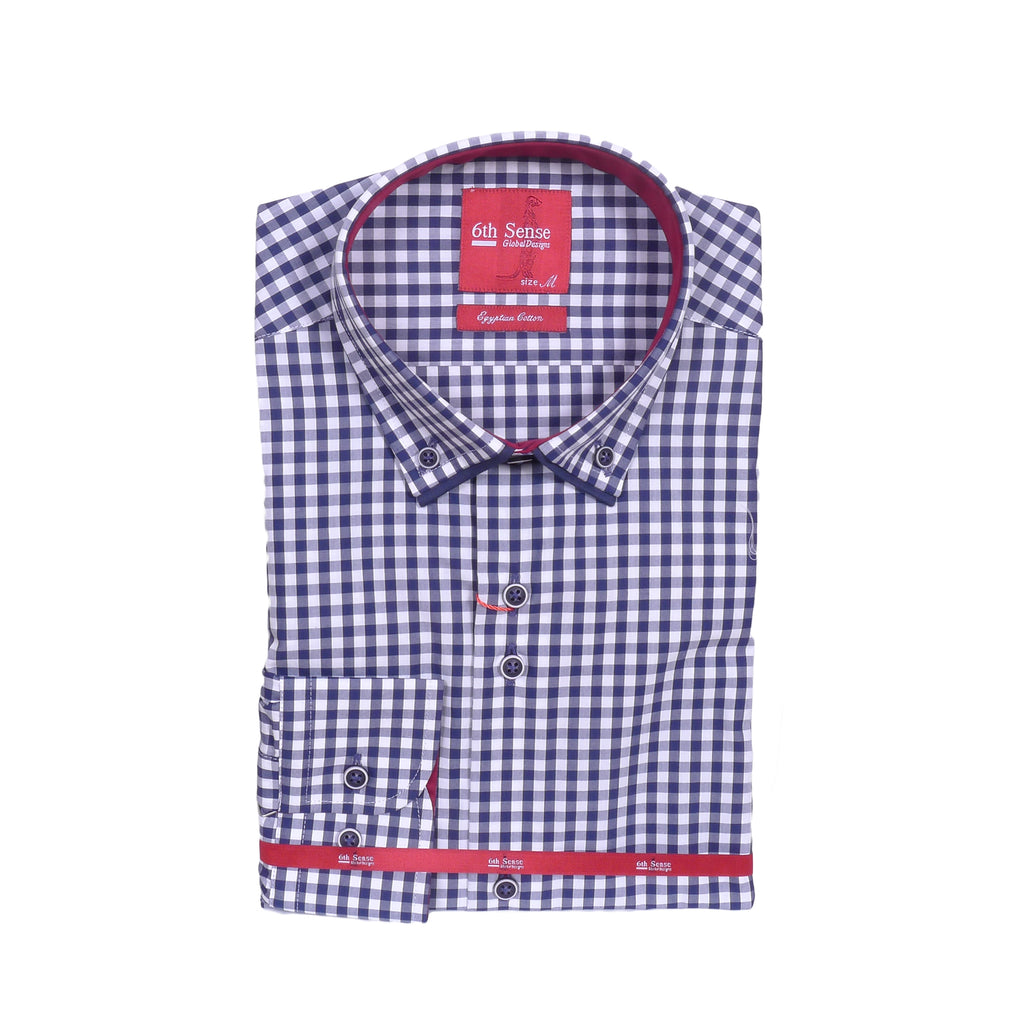 Navy Check Long Sleeve Shirt by 6th Sense