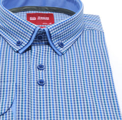 Double Collar Regular Fit Blue Check 1 Shirt by 6th Sense