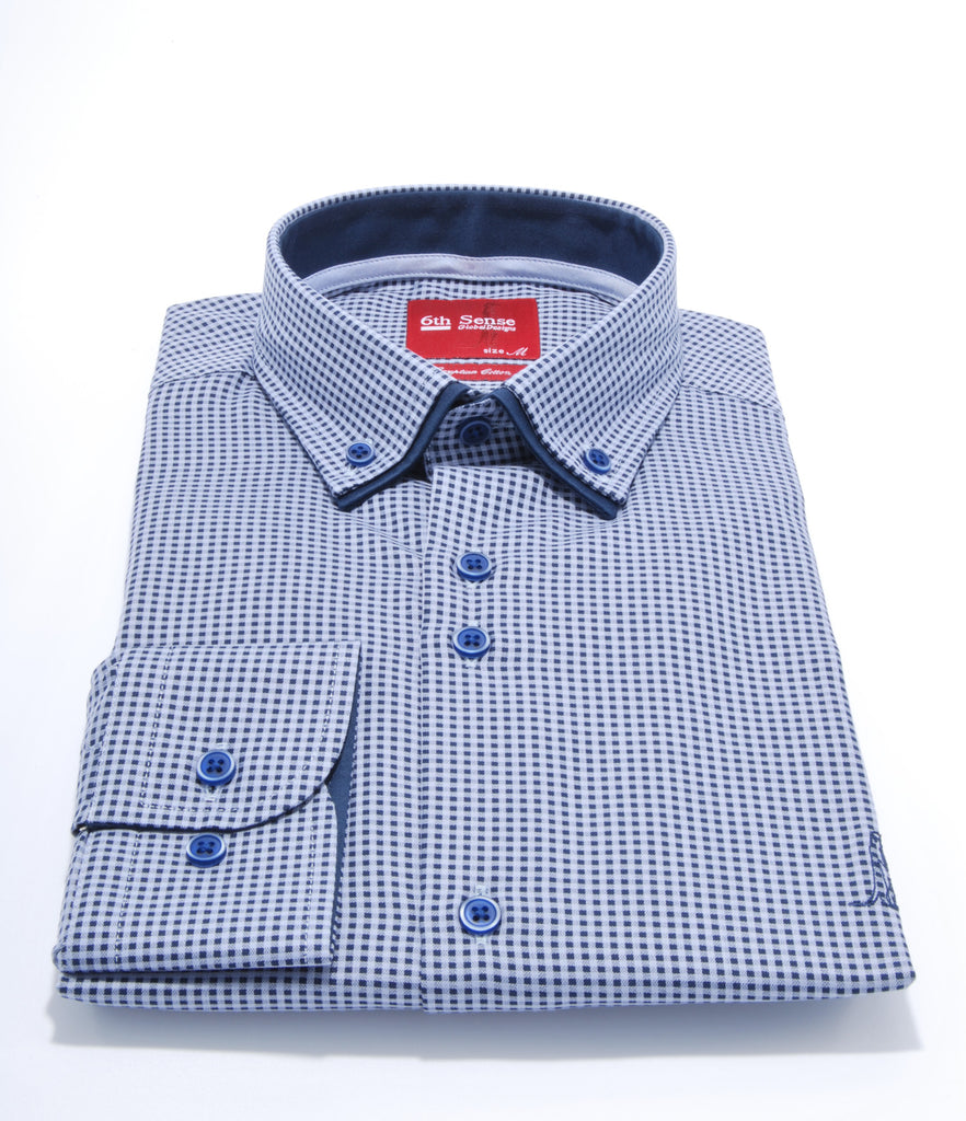 Double Collar Navy Check Regular Fit Shirt by 6th Sense