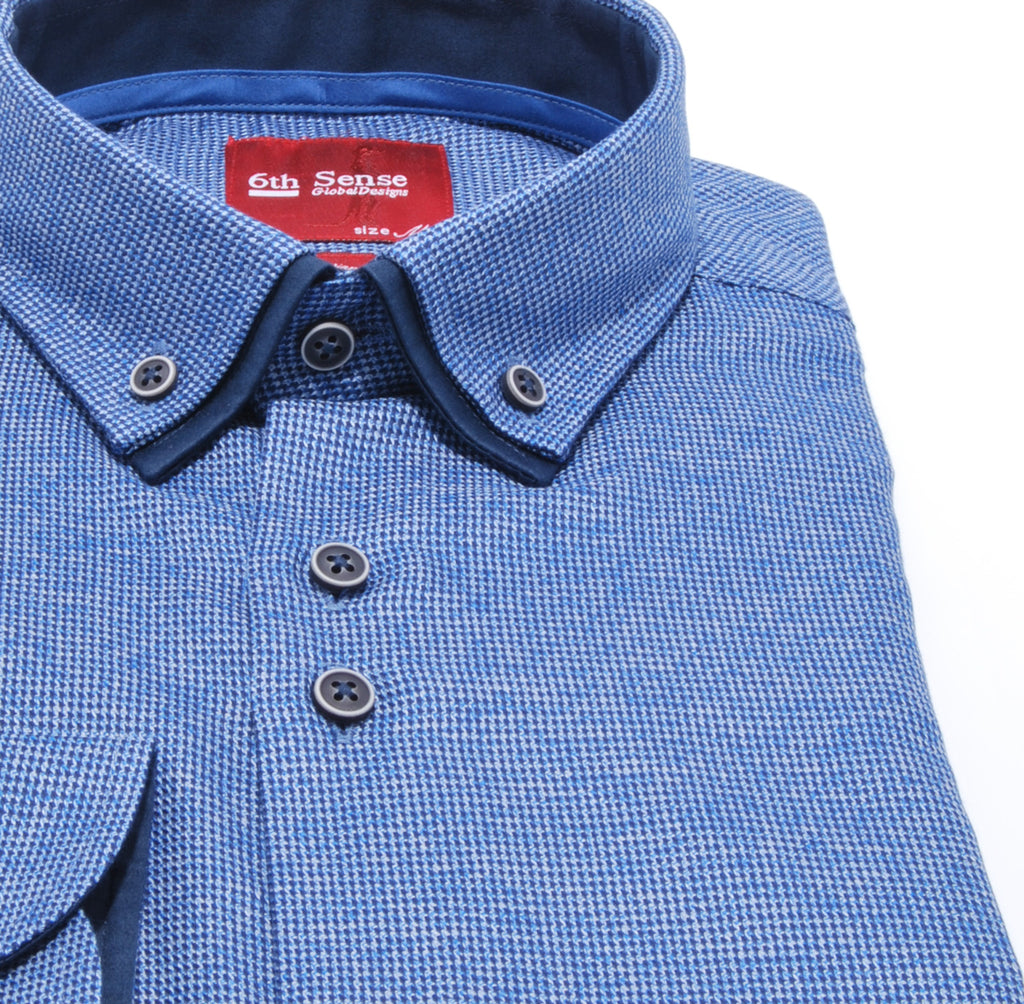 Double Collar Navy Pattern Check 12 Shirt by 6th Sense
