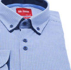 Double Collar Blue Check Regular Fit Shirt by 6th Sense