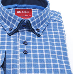 Double Collar Blue 24 Check Regular Fit Shirt by 6th Sense