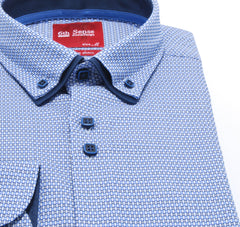 Double Collar Regular Fit Blue Pattern 35 Shirt by 6th Sense