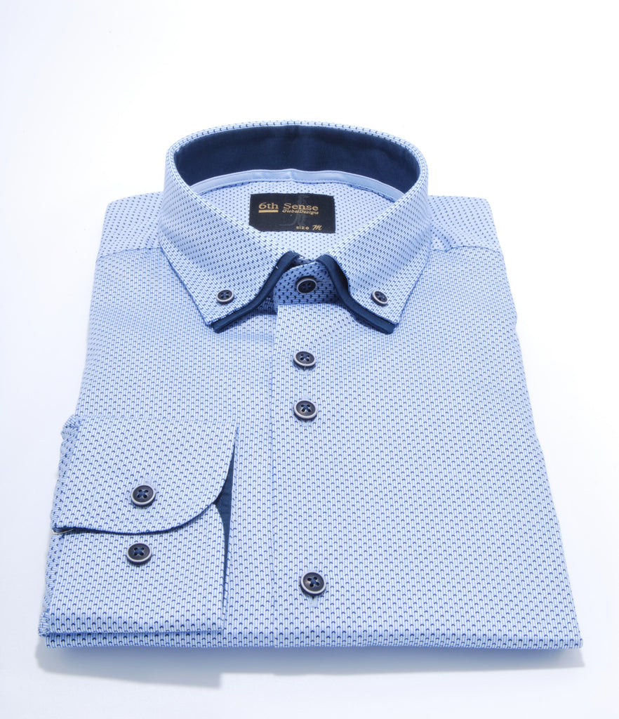 Double Collar Regular Fit Sky Print 9 Shirt by 6th Sense