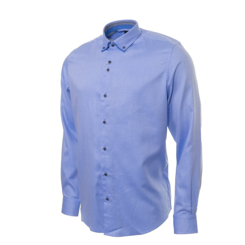 Double Collar Dobby Blue Pattern Shirt 8A by 6th Sense