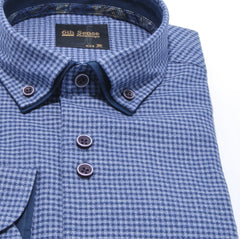 Double Collar Regular Fit Navy Check Fashion Shirt by 6th Sense