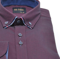 Double Collar Plain Twill Wine Shirt by 6th Sense