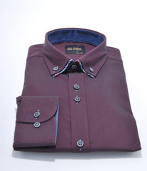 Double Collar Plain Twill Wine Shirt 4a by 6th Sense