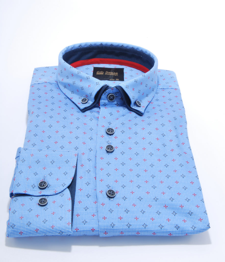 Double Collar Blue Print Regular Fit Shirt by 6th Sense
