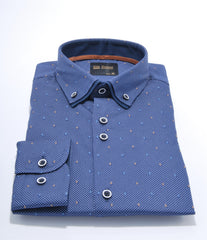 Double Collar Navy Print 5 Shirt by 6th Sense