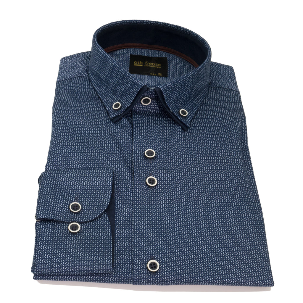 Double Collar Navy Print 7 Shirt by 6th Sense