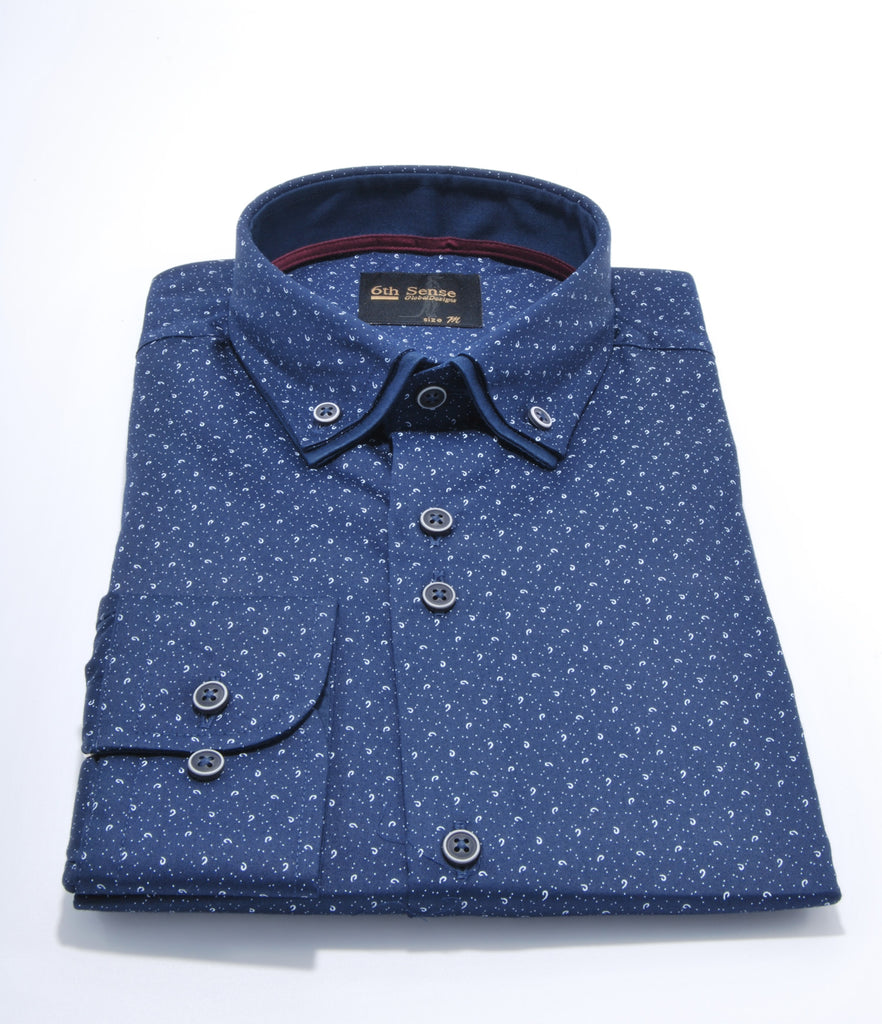 Double Collar Navy Print 8 Regular Fit Shirt by 6th Sense