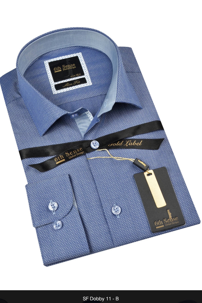Slim Fit Blue Dobby Shirt By 6Th Sense