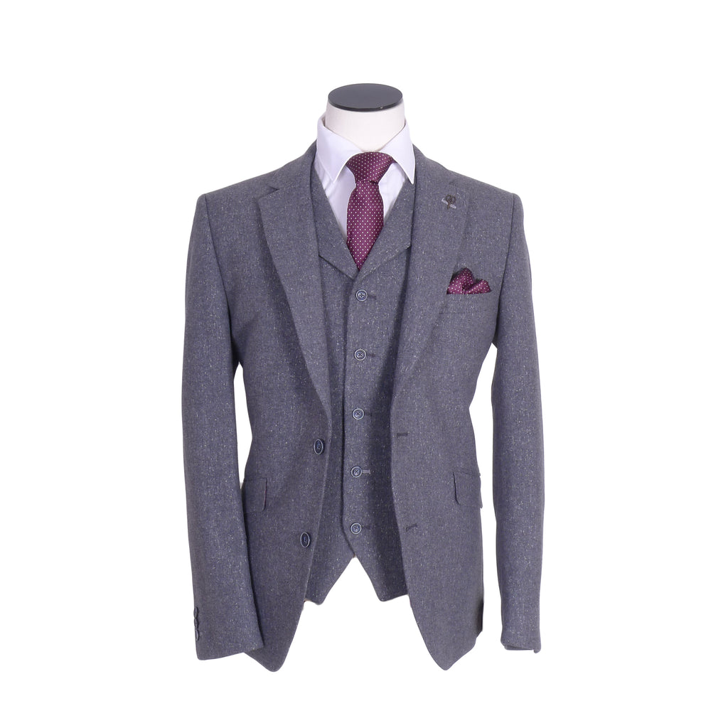 Donegal 3 Piece Gunmetal Tailored Suit By Gibson London