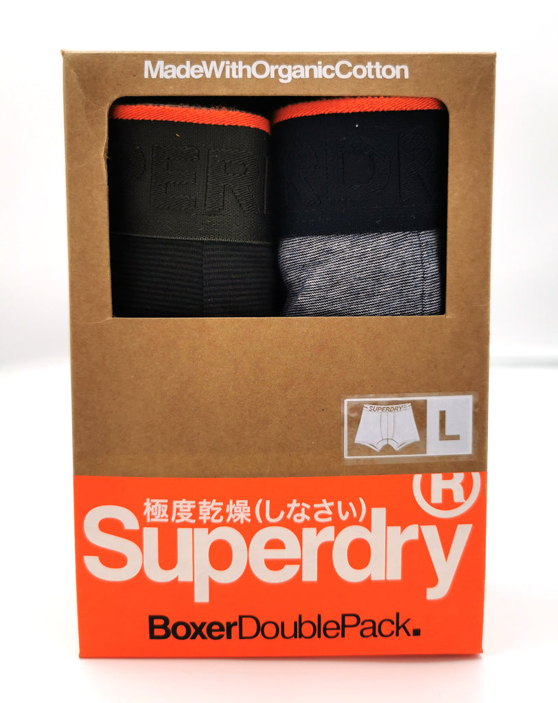Classic Boxers Double Pack Dark Grey Green