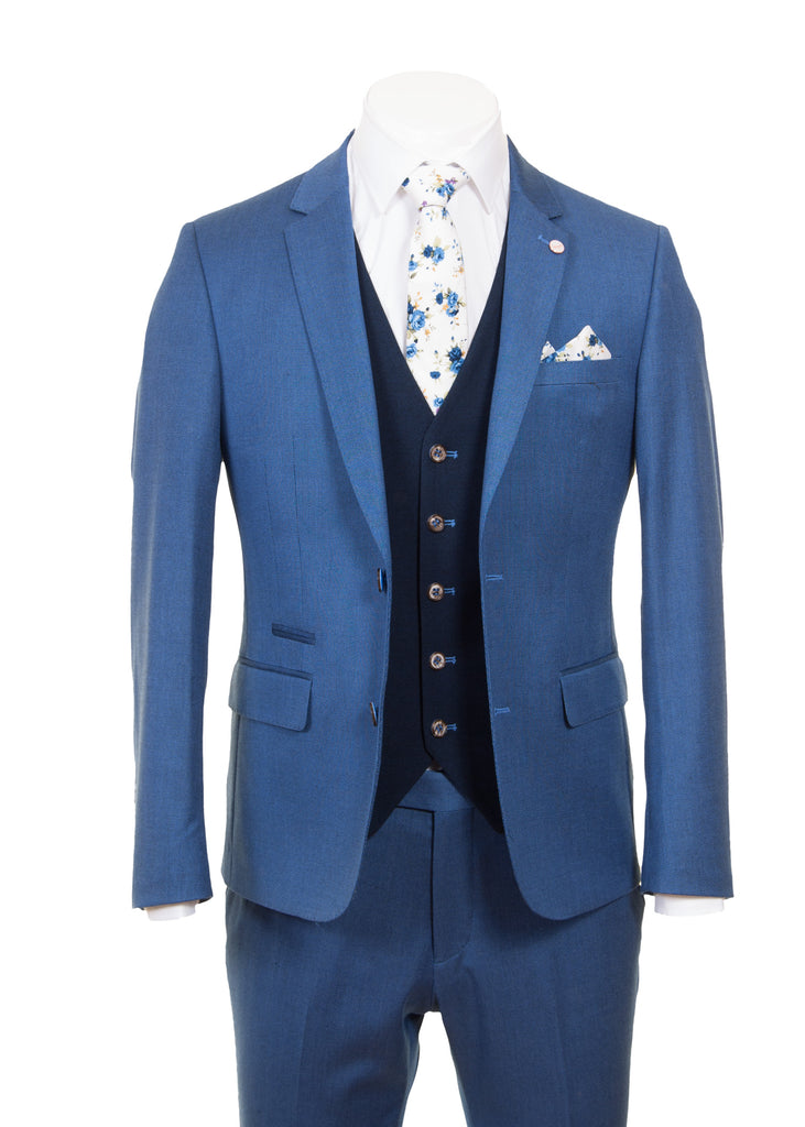 Blue Dot Suit With Navy Waistcoat