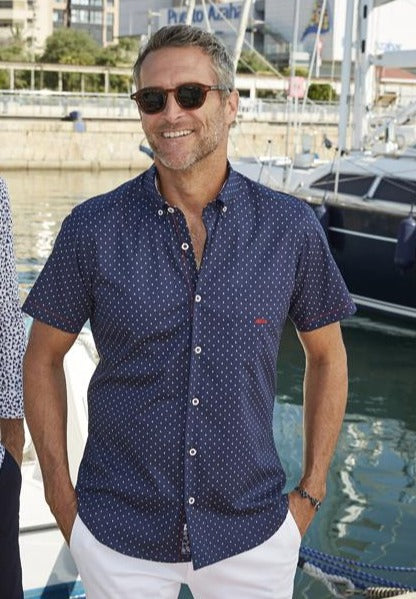 Dario Beltran Embid Short Sleeve Navy Pattern  Shirt