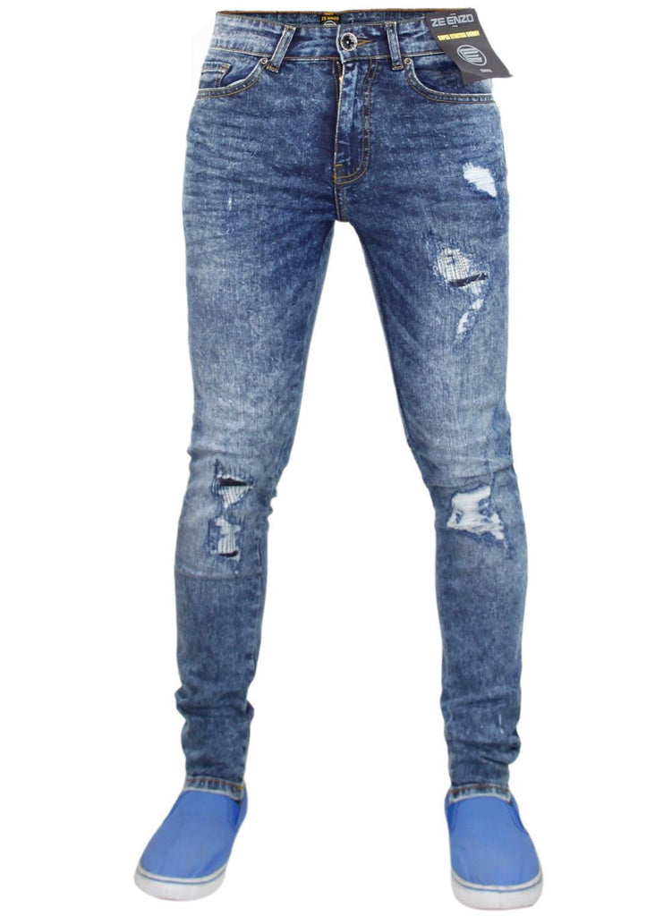 0714bb04052d Ripped Skinny Mid Stone Wash By Enzo Jeans