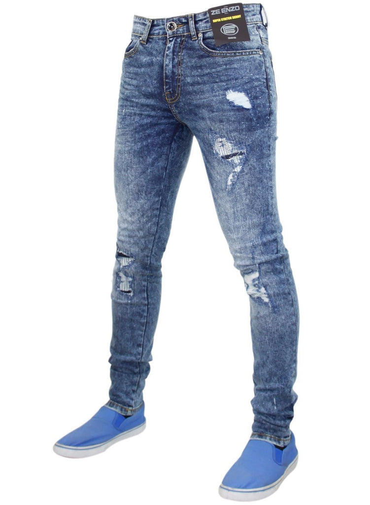 Ripped Skinny Mid Stone Wash By Enzo Jeans