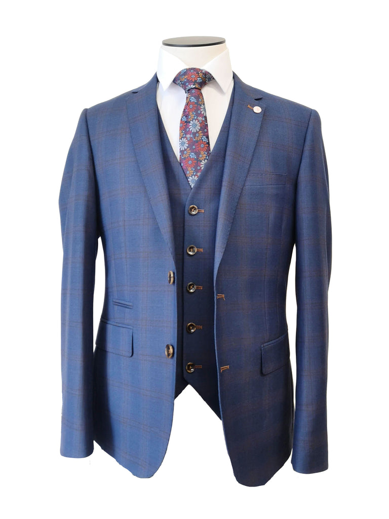 Navy With Brown Check 3 Piece by 6th Sense