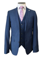 Navy Check 3 Piece Franklin Suit