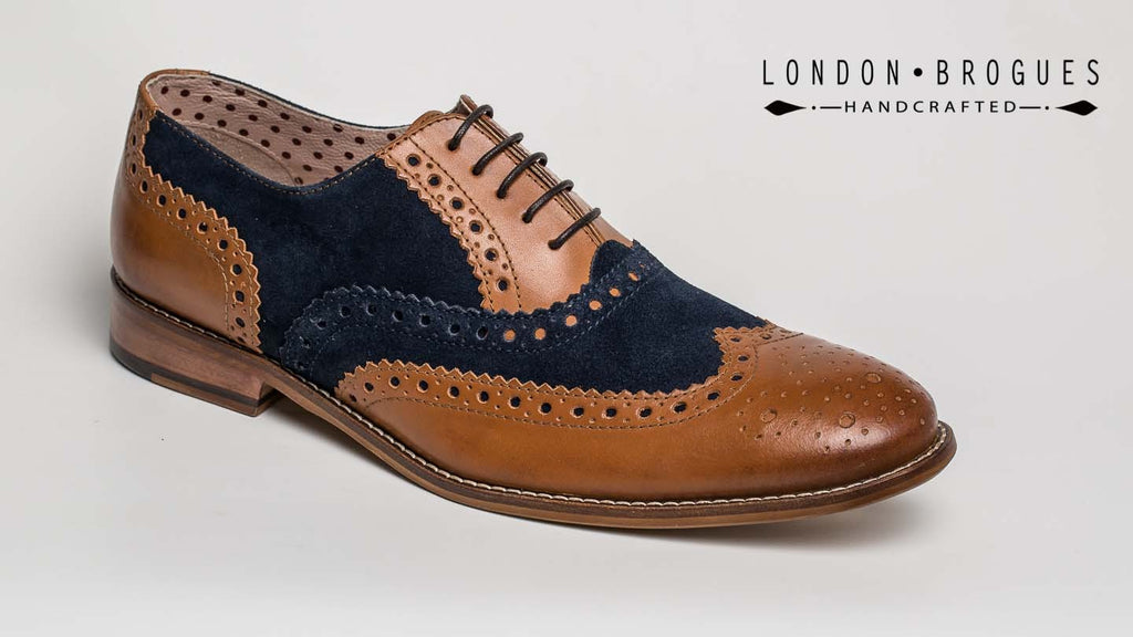 Gatsby Men‰ۡó»S Leather Brogue Shoe Tan & Navy Suede By London Brogues