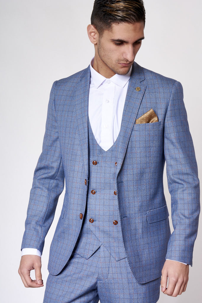 George Check Print Three Piece Suit By Marc Darcy