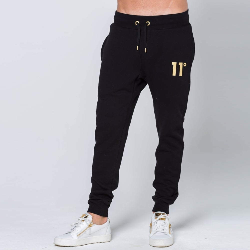 11 degrees Limited Edition Gold Logo Joggers - Black