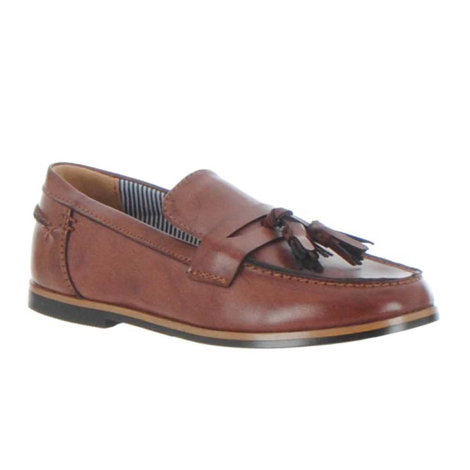 Boys Tassle Brown Loafer Shoe. Goor-999