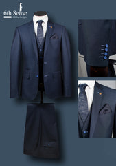 Gregor 3 Piece Blue Check Suit by 6th Sense