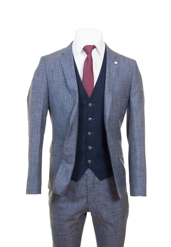Navy & Bordo Check Suit With Navy Waistcoat