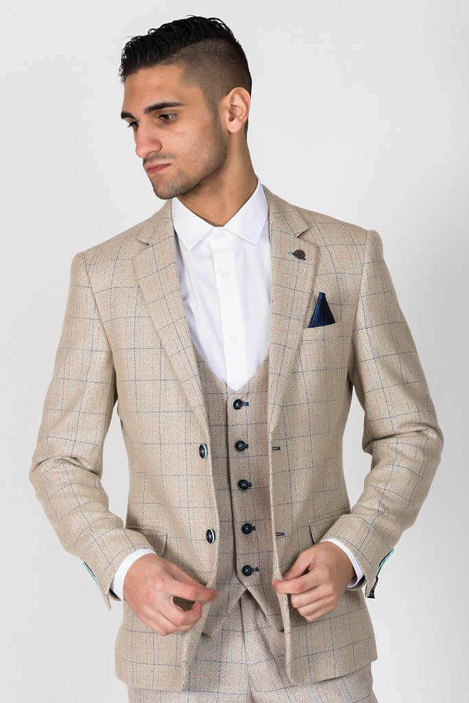 Harding Cream Check Blazer by Marc Darcy
