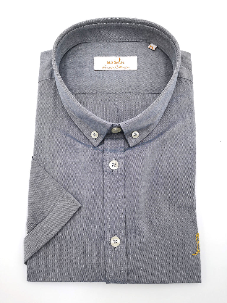 Heritage Oxford BD Grey Short Sleeve Shirt