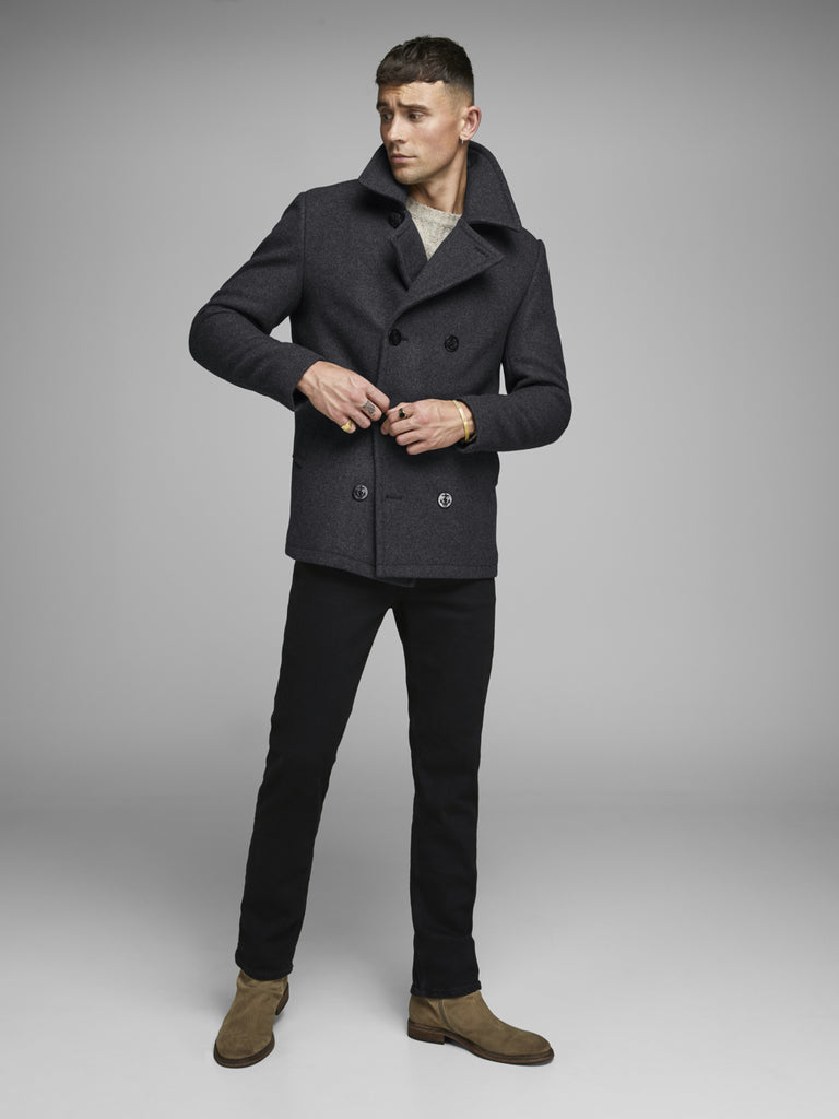 Hicks Wool Grey Melange Peacoat