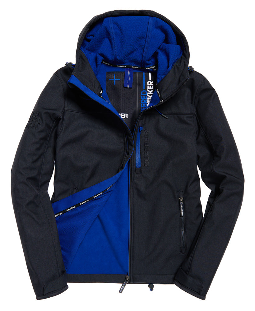 Hooded Blue Marl Windtrekker Jacket by Superdry - Front