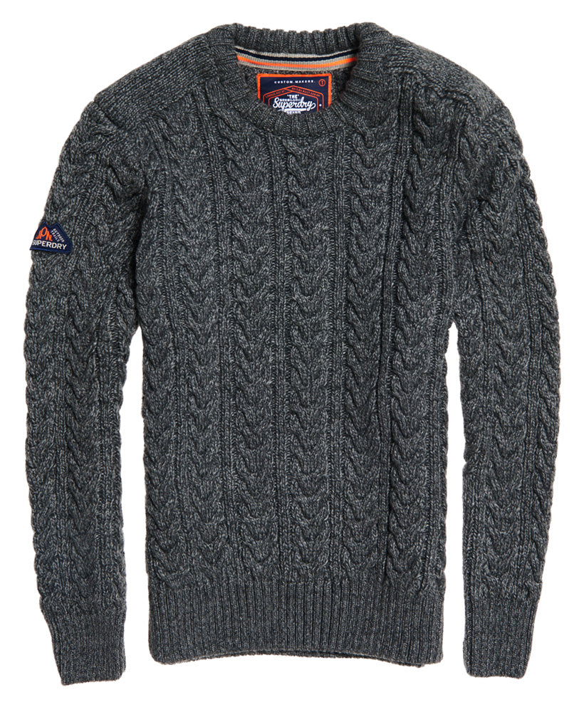 Jacob Crew Grey Twist Knit by Superdry - Front