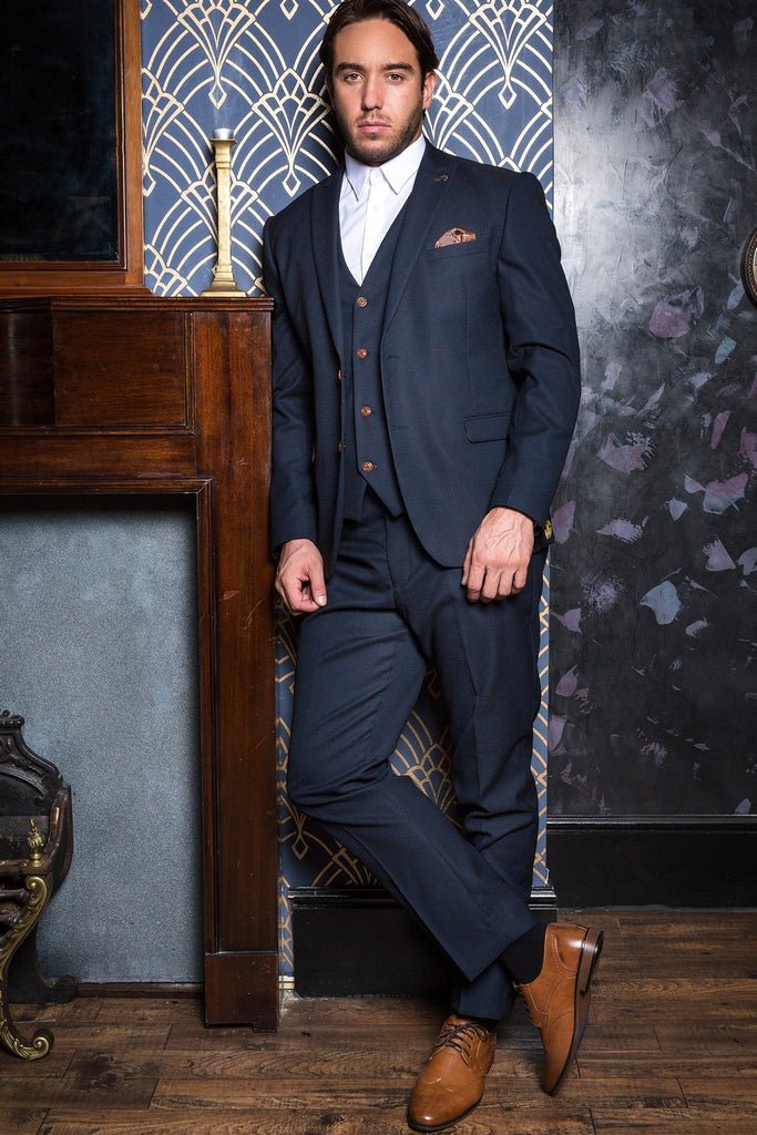 Max 3 Piece Navy Diamond Suit by Marc Darcy