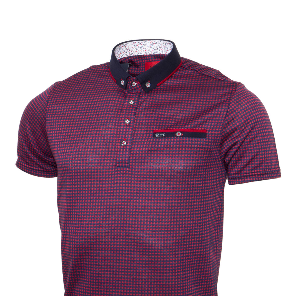 Jacquard Red Polo By Swade